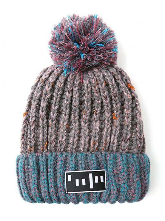 Stripy Pom Ball Flanging Knitted Beanie - GRAY  Mobile
