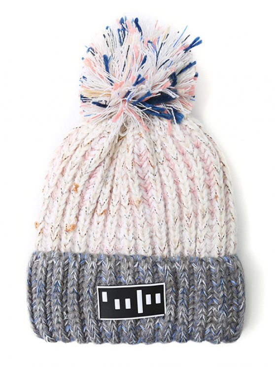 Stripy Pom Ball Flanging Knitted Beanie -   Mobile