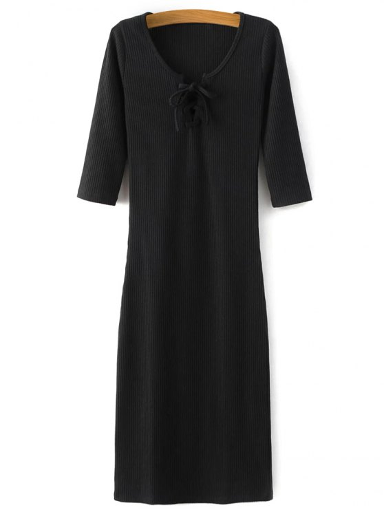 Lace-Up Knitting Dress - Noir M
