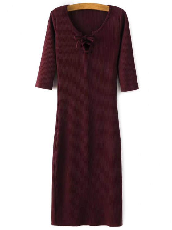 Lace-Up Knitting Dress - WINE RED S Mobile