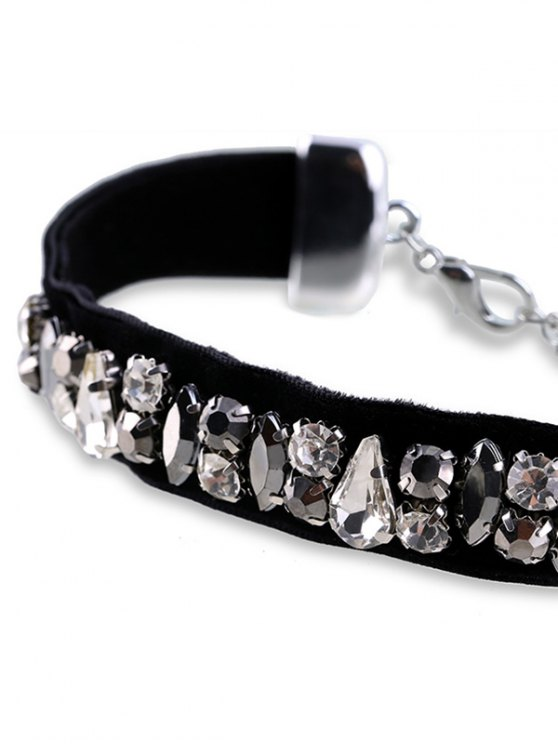 Rhinestoned Faux Leather Choker Necklace - BLACK  Mobile