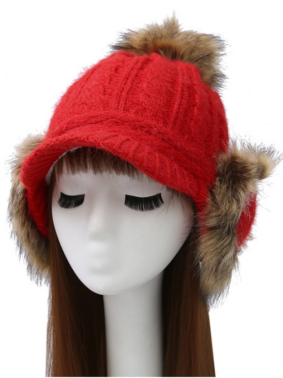 Pom Ball Hemp Flowers Knitted Hat - BRIGHT RED  Mobile