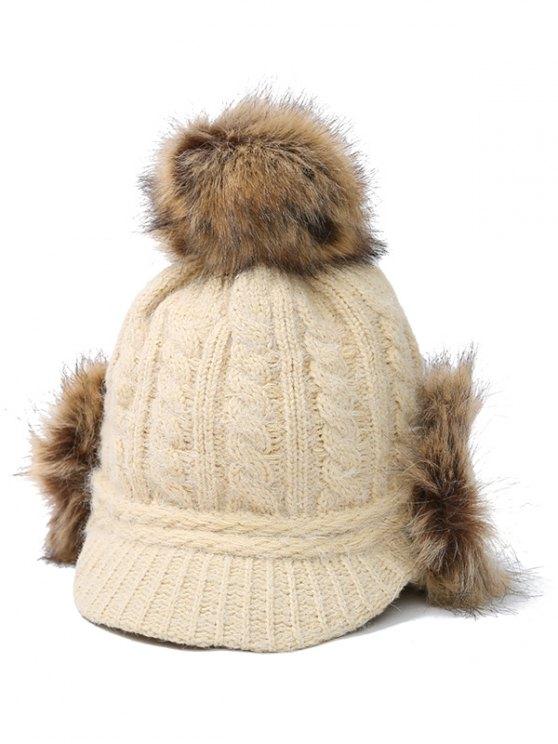 Pom Ball Hemp Flowers Knitted Hat - BEIGE  Mobile