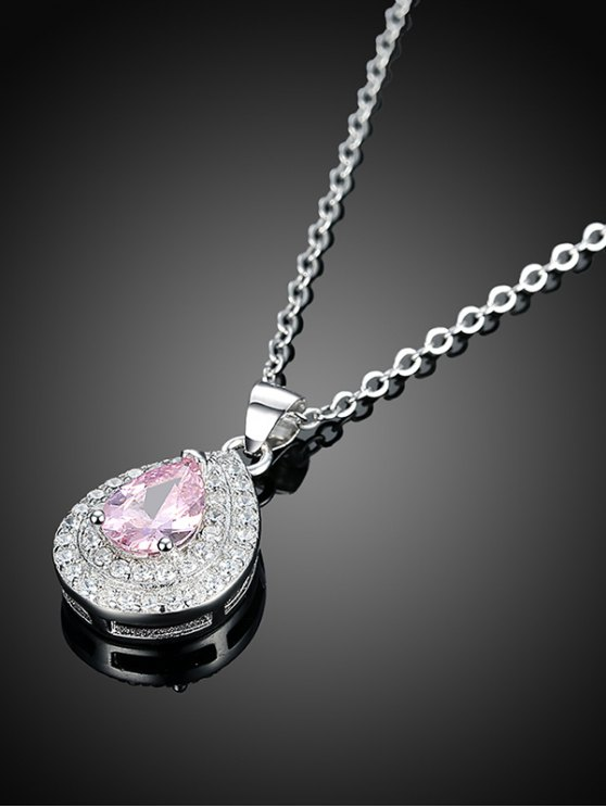 Teardrop S925 Diamond Necklace - SILVER  Mobile