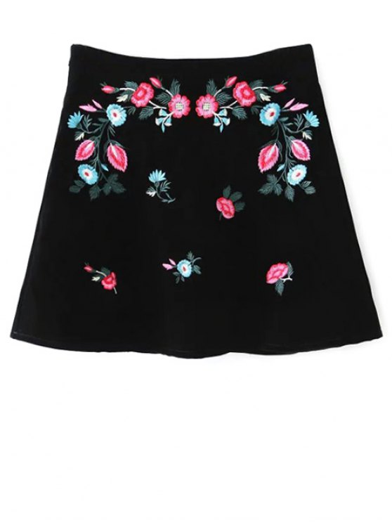 Ethnic Floral A-Line Skirt - BLACK L Mobile