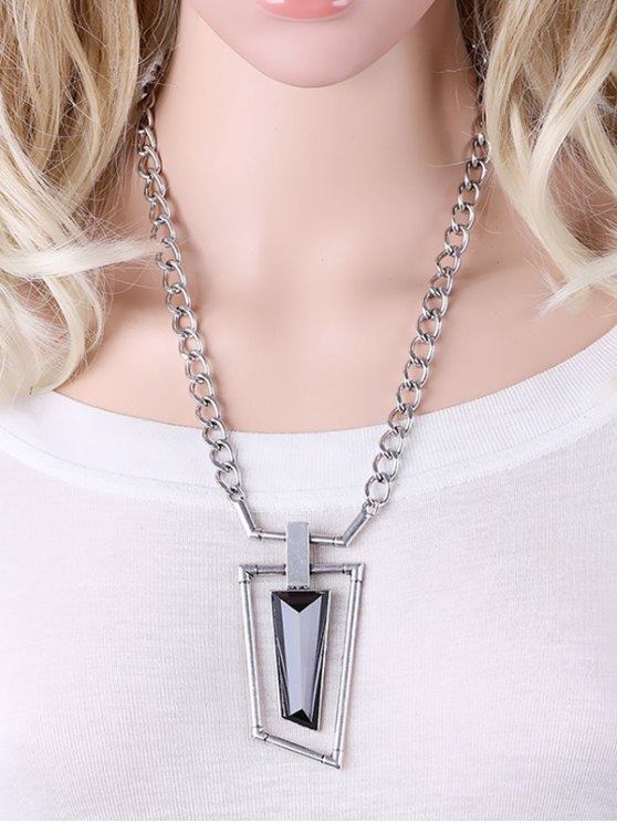 Hollowed Geometry Faux Gem Necklace - SILVER  Mobile