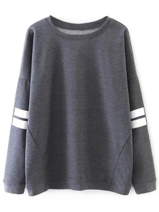 womens Striped Sports Sweatshirt - GRAY M