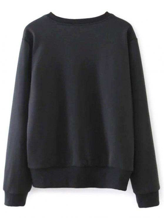 Loose Emroidered Sweatshirt - BLACK L Mobile