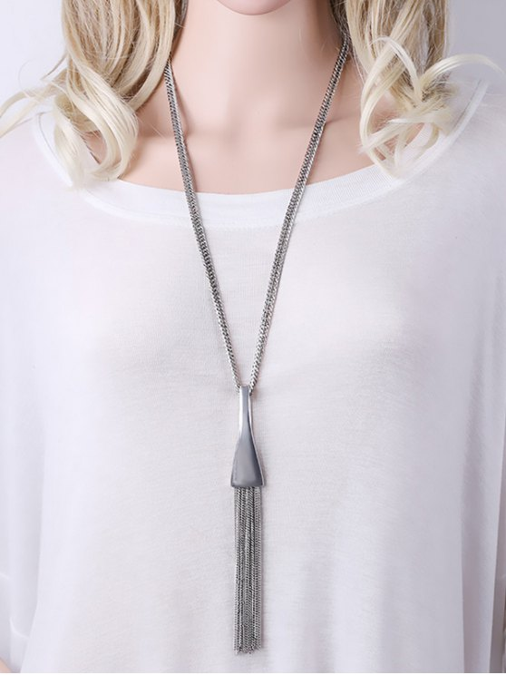 Alloy Chain Tassel Pendant Necklace - SILVER  Mobile