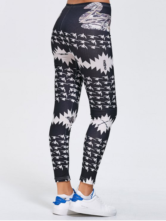 Stretchy Printed Sports Leggings - BLACK XL Mobile
