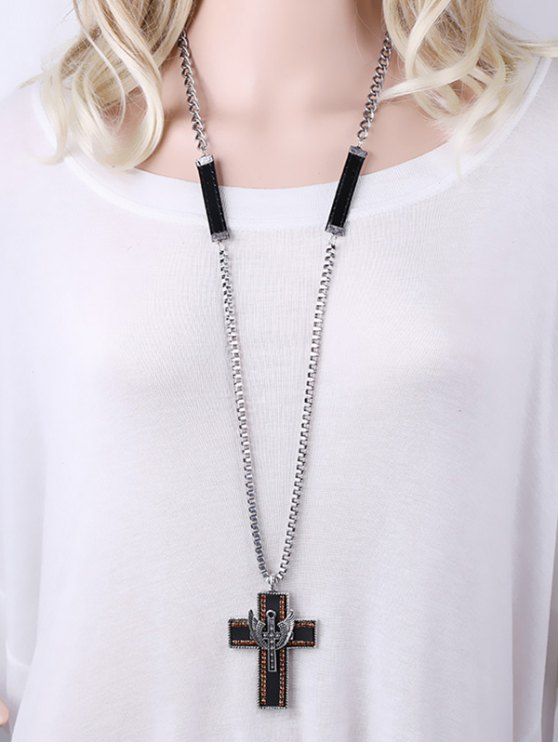 Cross Wing Rhinestone Pendant Necklace -   Mobile