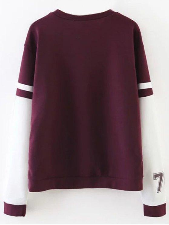 Sports Figure Print Sweatshirt - WINE RED M Mobile