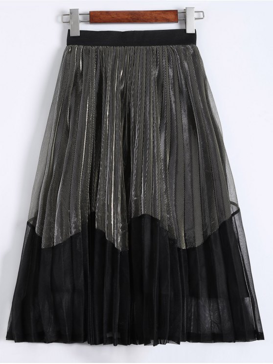 buy Pleated Color Block Tea Length Skirt - CHAMPAGNE GOLD ONE SIZE
