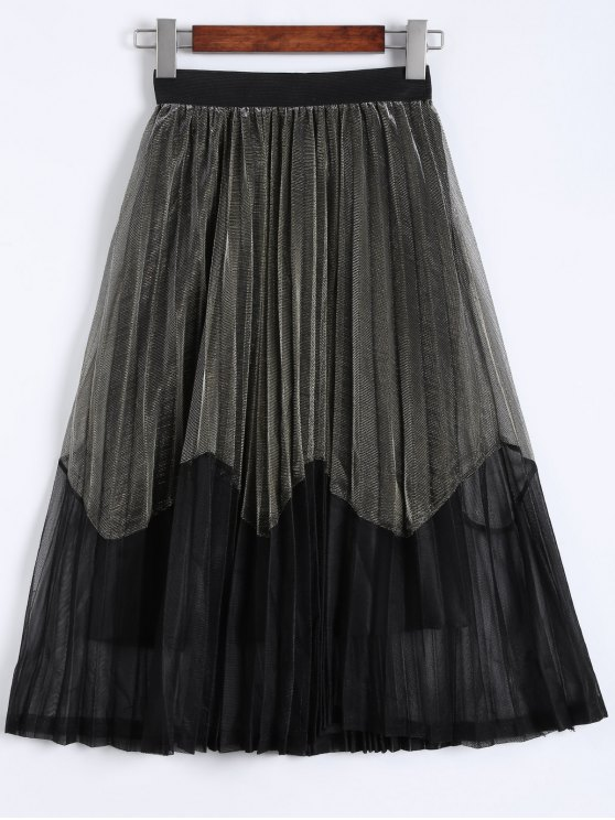 Pleated Color Block Tea Length Skirt - CHAMPAGNE GOLD ONE SIZE Mobile