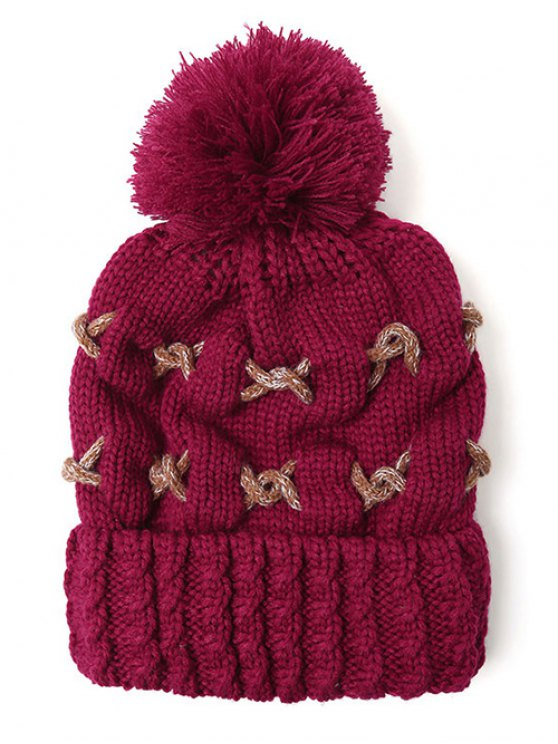 Criss Cross Pom Ball Knitted Beanie -   Mobile