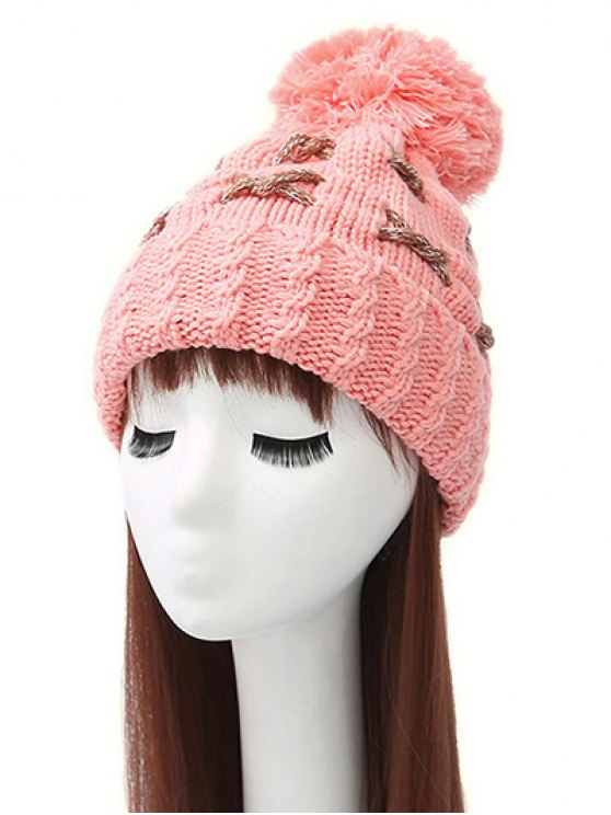 Criss Cross Pom Ball Knitted Beanie - PINK  Mobile
