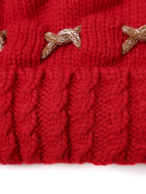 Criss Cross Pom Ball Knitted Beanie -   Mobile