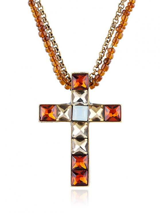 Beads Faux Crystal Cross Necklace - BROWN  Mobile