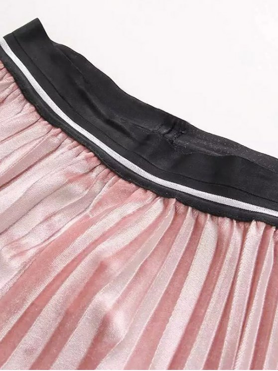 High Waist Pleated Velour Skirt - RED ONE SIZE Mobile