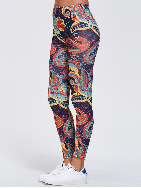 Stretchy Paisley Print Gym Leggings - CADETBLUE XL Mobile
