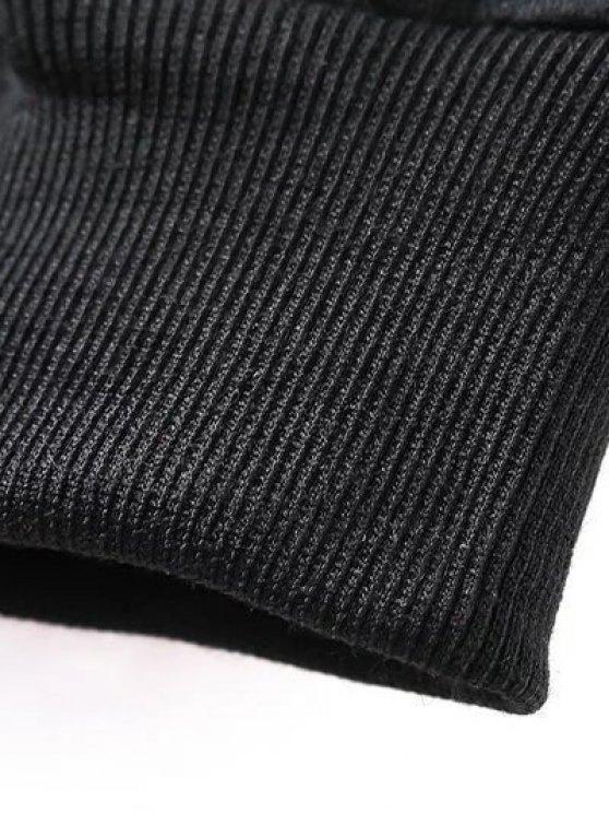 Sequins Crew Neck Long Sweatshirt - BLACK M Mobile
