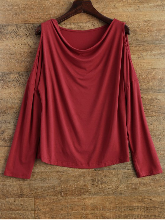 Long Sleeves Cut Out T-Shirt - RED M Mobile