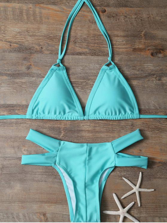Halter Cut Out Padded Bikini - LAKE GREEN S Mobile