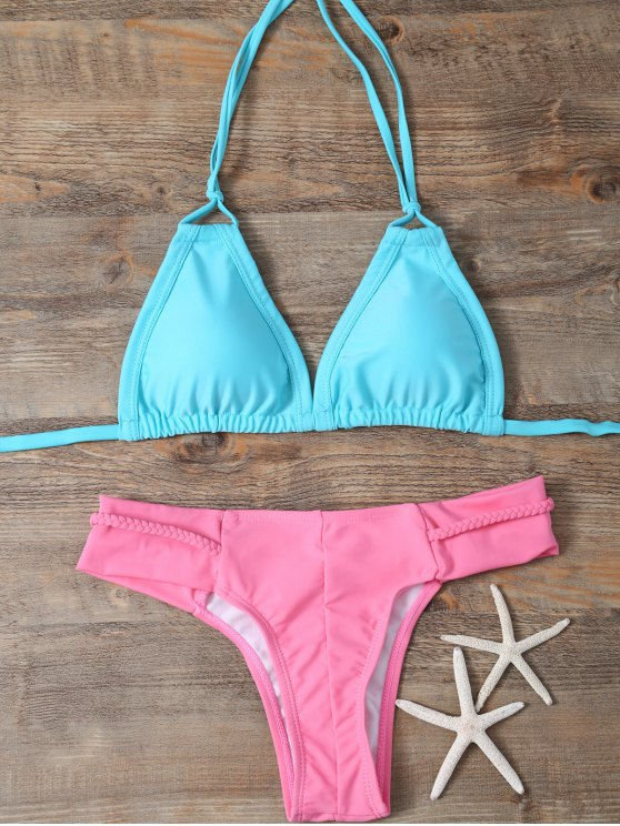 Padded Braided Mix Match Bikini Set - LAKE GREEN M Mobile