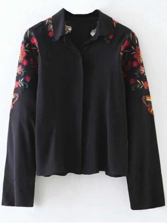 Casual Floral Shirt - BLACK S Mobile