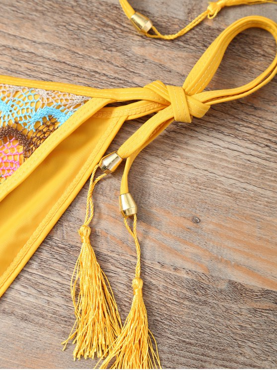 Halter Lace Patch String Bikini - YELLOW L Mobile