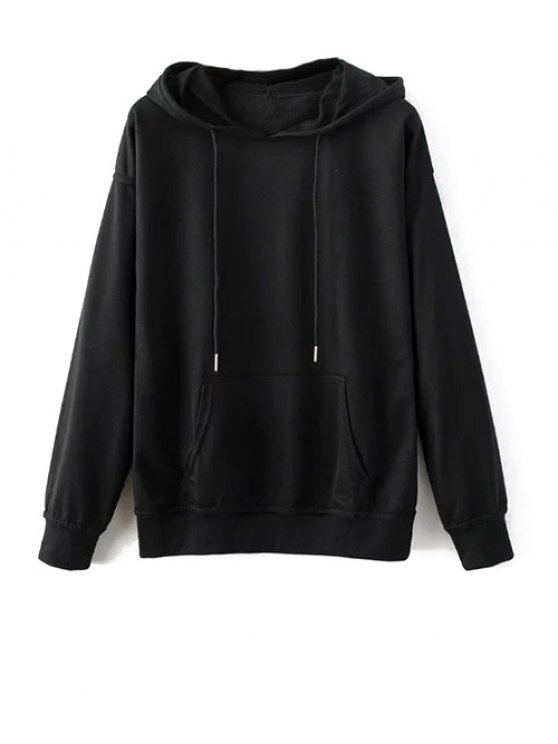 Bat-Wing Sleeve Casual Hoodie - BLACK XL Mobile