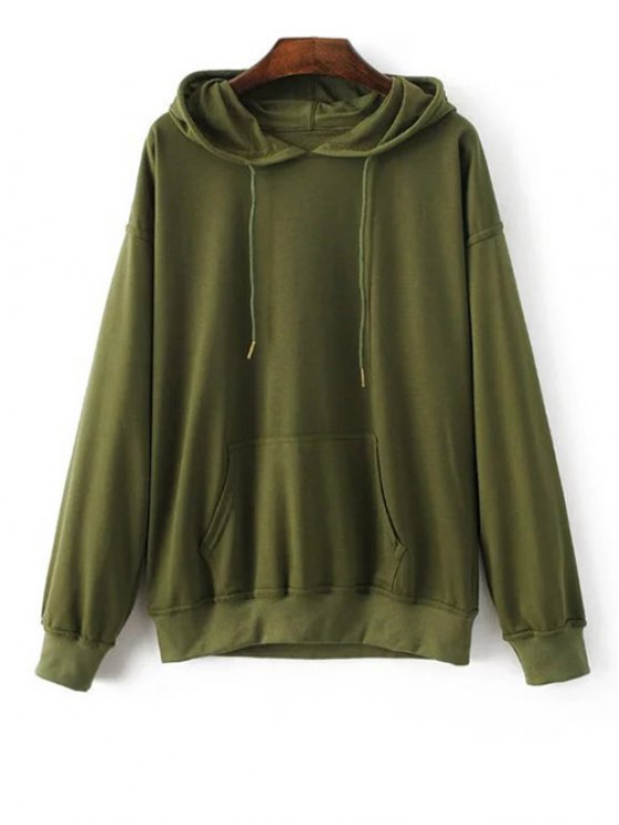 Bat-Wing Sleeve Casual Hoodie - ARMY GREEN S Mobile