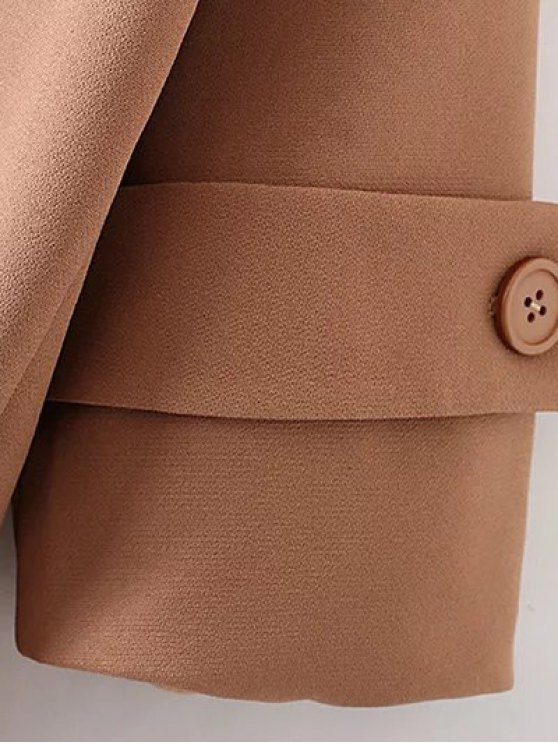 Lapel Collar Woolen Peacoat - KHAKI M Mobile