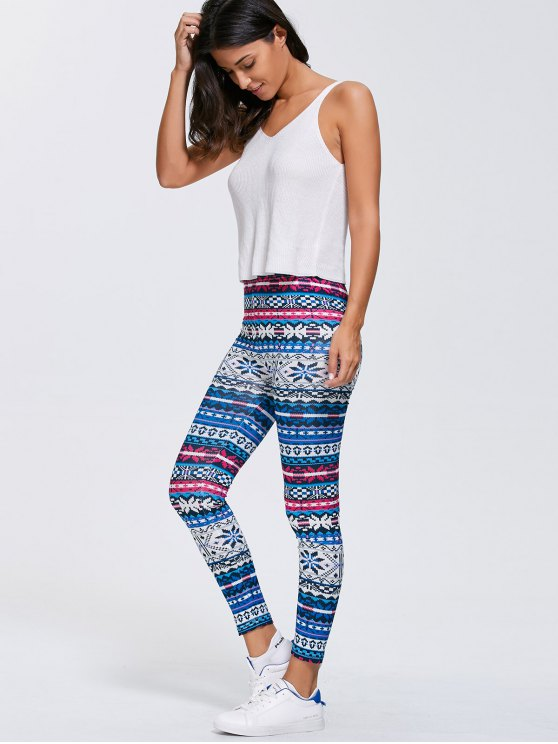Slimming Fair Isle Stretchy Leggings - BLUE XL Mobile