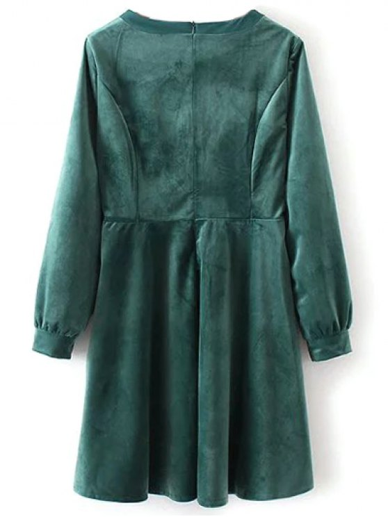 Bowknot Round Neck Smock Dress - GREEN M Mobile