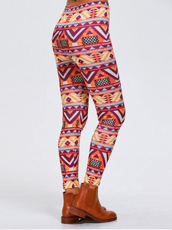 Stretchy Geometric Printed Sports Leggings - ORANGEPINK XL Mobile