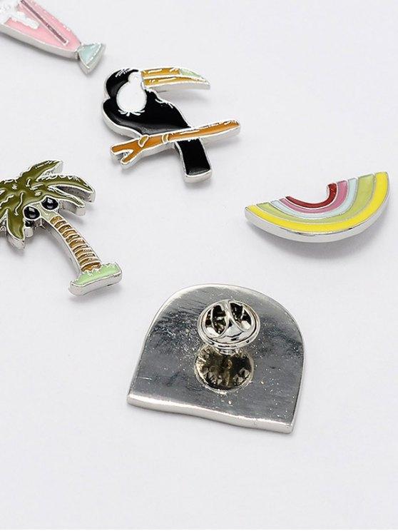 Palm Tree Sunny Rainbow Brooch Set -   Mobile