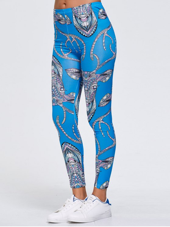Slimming Abstract Animal Print Stretchy Leggings - BLUE XL Mobile