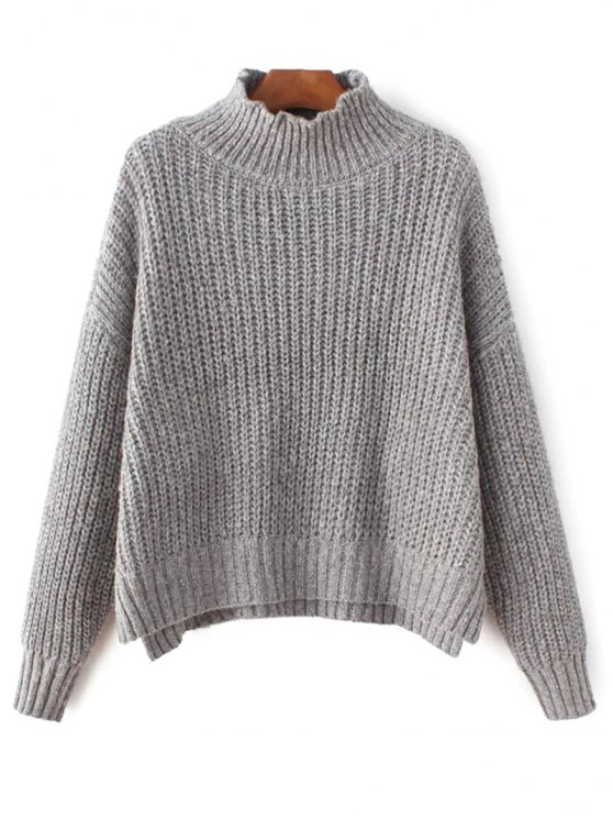 buy Chunky Mock Neck Sweater - GRAY ONE SIZE