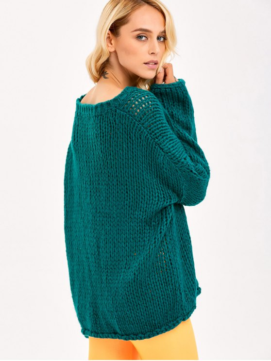 Pullover Drop Shoulder Loose Fitting Chunky Sweater - GREEN ONE SIZE Mobile