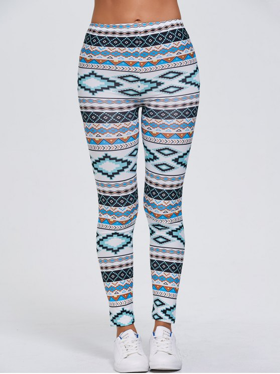 Tribal Printed Stretchy Slimming Leggings - WHITE XL Mobile
