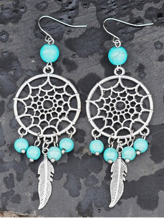 Hollow Out Faux Turquoise Feather Earrings -   Mobile