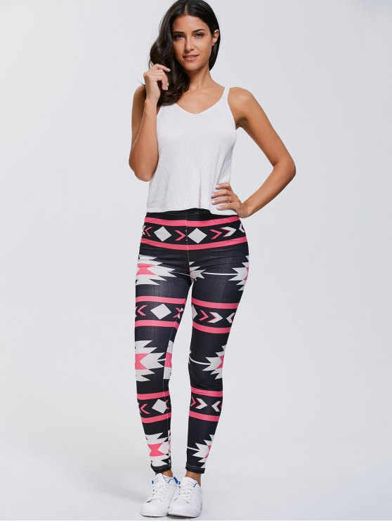 Stretchy Geometric Printed Gym Leggings - BLACK XL Mobile