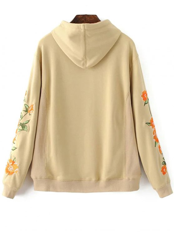 Floral Embroidered Big Pocket Hoodie - KHAKI S Mobile