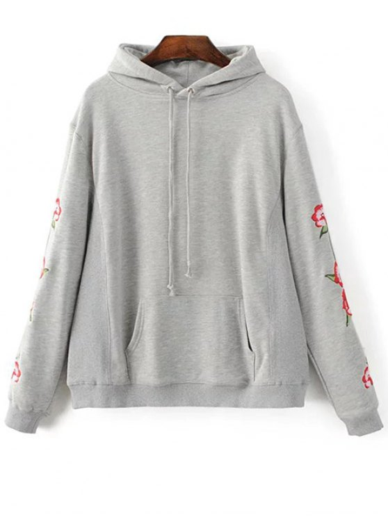 Floral Embroidered Big Pocket Hoodie - GRAY S Mobile