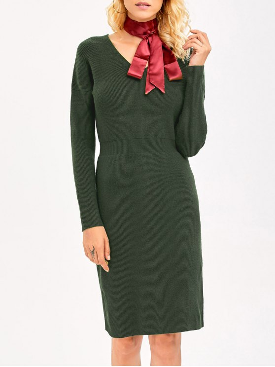 Knitted High Waist Pencil Dress - ARMY GREEN ONE SIZE Mobile