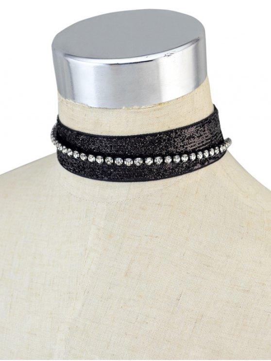 Rhinestoned Velvet Choker Necklace Set -   Mobile