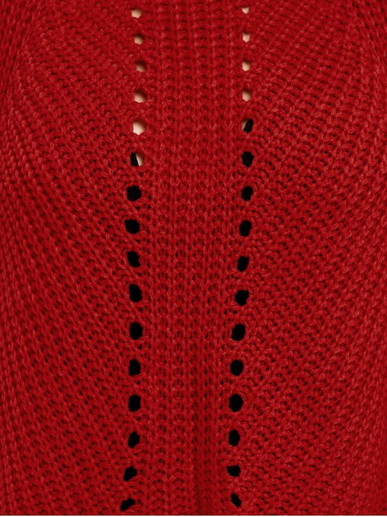Loose Fitting Openwork Sweater - RED ONE SIZE Mobile