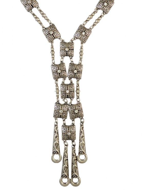 Rhinestone Geometric Necklace -   Mobile