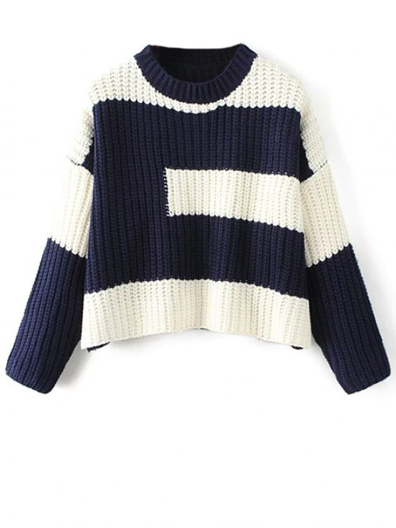 Color Block Mock Neck Jumper - PURPLISH BLUE ONE SIZE Mobile